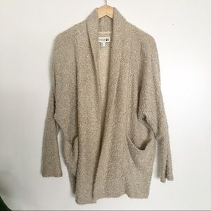 F21 Cozy Open Shawl Collar Popcorn Cardigan